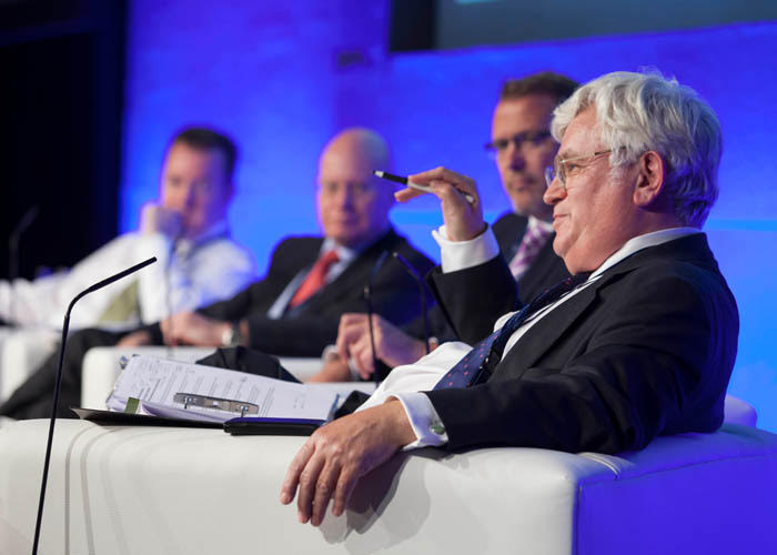 Keith Boyfield chairs a session of the Financial Centres Summit in Dublin - October 17, 2017 - with Derek Andrews, Invest NI, Kevin Wall, CEO, Barclays Bank Ireland, and Kieran Donoghue, IDA Ireland.